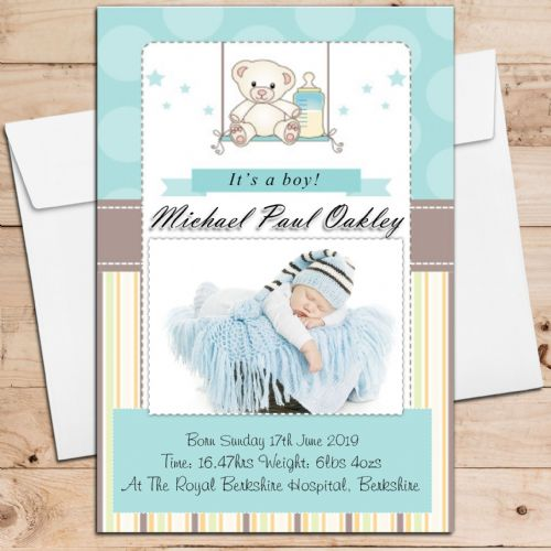 10 Personalised Baby Boy Birth Announcement Thank You PHOTO cards N106